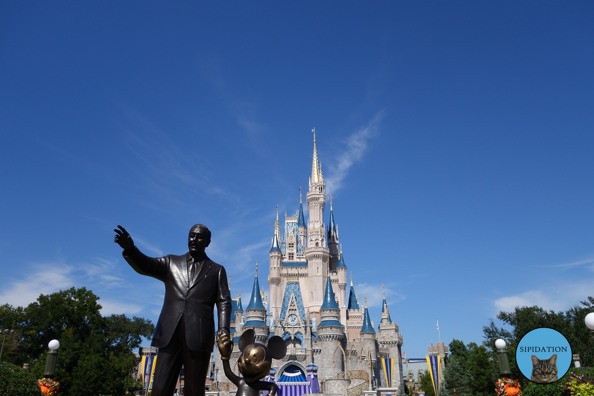 Castle and Disney with Mickey Statue - Magic Kingdom - Disney World, Florida
